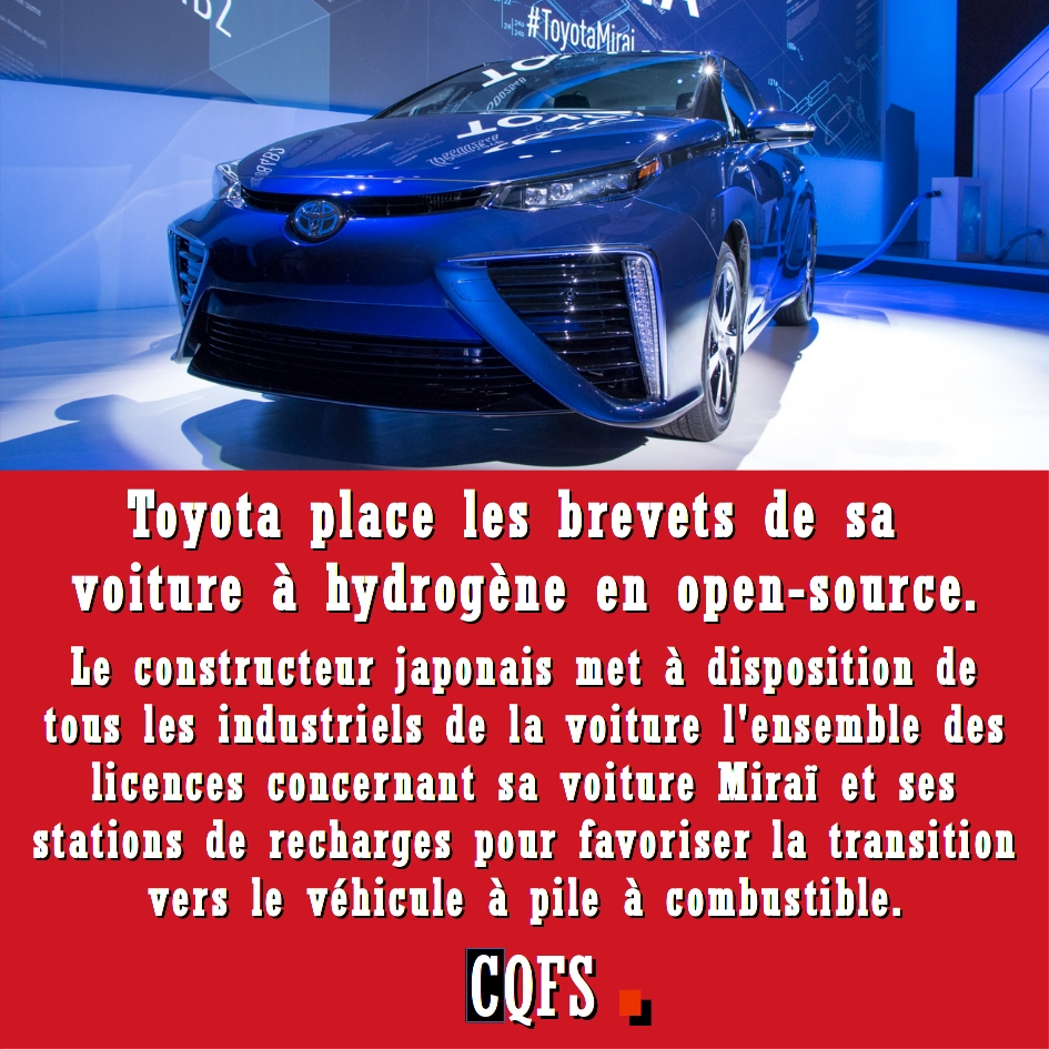 toyota place les brevets de sa voiture hydrog ne en open source inform 39 action. Black Bedroom Furniture Sets. Home Design Ideas